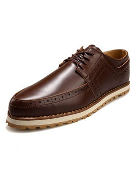 Solid Color Pointed Toe Brogue Shoes