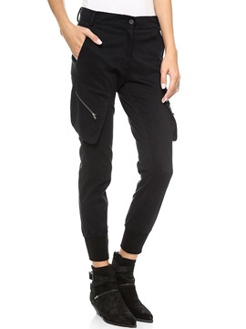Black Oblique Medium Waist Casual Pants