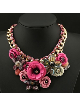 Flower Grouped Alloy Necklace