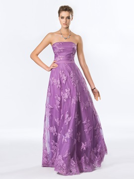 Timeless Strapless Lace A Line Floor Length Evening Dress Designed