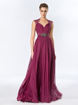 Tidebuy A Line Ruched Lace Long Evening Dress Designed