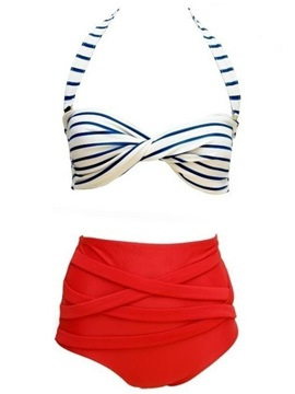 Red Halter Striped Bikini Swimwear