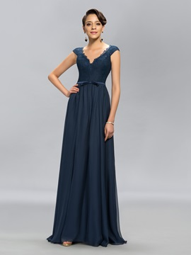 Simple V Neck Lace Cap Sleeves Long Evening Dress Designed