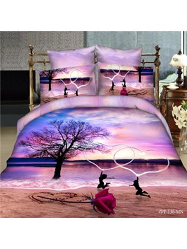 Romantic Heart In Heart Cotton 4 Piece Bedding Set