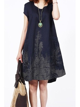 Dark Blue Short Sleeve Loose Dress