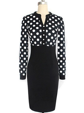 Black Polka Dot Long Sleeve Sheath Dress
