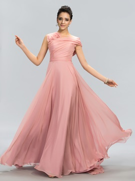 Stunning Tulle Neckline Flower Long Prom Dress Designed