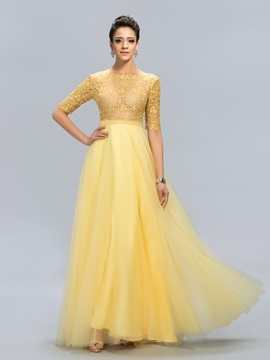Eye Catching Bateau Lace Half Sleeves Long Evening Dress Designed