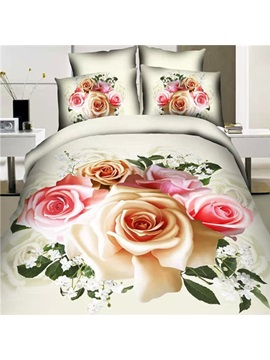 Blooming Roses Printed Cotton 3d 4 Piece Bedding Set