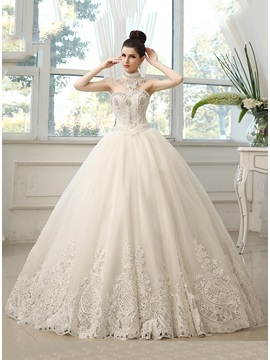 Rhinestone Beaded Sweetheart Ball Gown Wedding Dress(exclude The Accessories On Neck