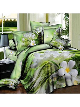 Elegant White Lotus Printed Cotton 3d 4 Piece Duvet Cover Set