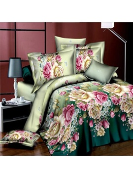 Colorful Flowers Printed 3d 4 Piece Duvet Cover Set
