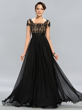 Vintage Tulle Neck Appliques Short Sleeves Long Evening Dress Designed