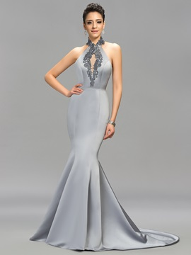 Classic Mermaid Embroidery Backless Long Evening Dress Designed