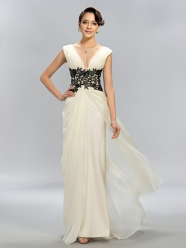 Simple A Line V Neck Appliques Long Evening Dress Designed