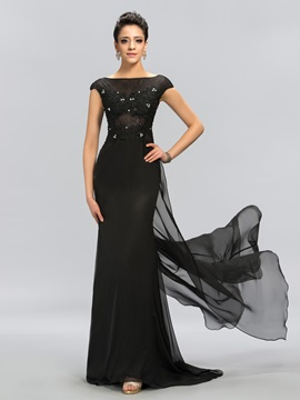 Modest Sheath Bateau Neck Cap Sleeves Appliques Long Evening Dress
