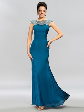 Dazzling Cap Sleeves Beaded Sheath Floor Length Evening Dress