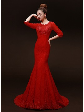 Ladylike Scoop Neck Mermaid Lace Sequins Lace Up Long Evening Dress