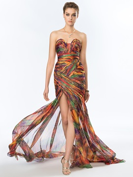 Timeless Sweetheart Printed Split Front Long Evening Dress Designed