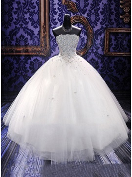 Strapless Beaded Floor Length Ball Gown Wedding Dress