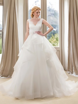 Eye Catching Beaded Lace V Neck Princess Wedding Dress With Satin Sash