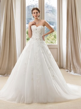 Strapless Beaded Sweetheart Appliques A Line Wedding Dress
