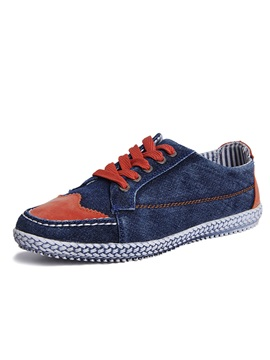 Color Block Lace Up Canvas Shoes