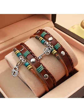 Nice Key Lock Lover Leather Bracelets Price For A Pair