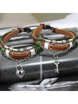 Romantic Key And Lock Lover Leather Bracelets Price For A Pair