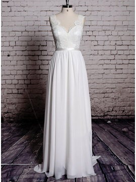 Dazzling Lace V Neck Backless Sheath Long Wedding Dress