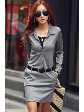 New Solid Color Long Sleeve Sheath Dress With Belt