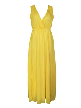 Yellow V Neck Side Split Chiffon Evening Dress