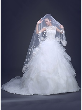 Applique Fingertip Length Wedding Veil