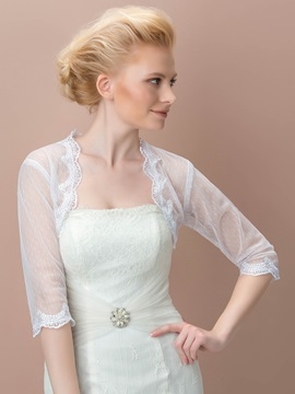 3 4 Long Sleeves Appliques Wedding Jacket