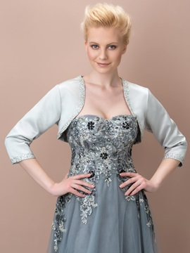3 4 Sleeves Beading Silver Wedding Jacket