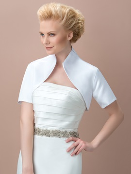 Style Short Sleeves White Wedding Jacket