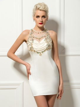 Jewel Neck Beading Pearls Column Short Cocktail Dress