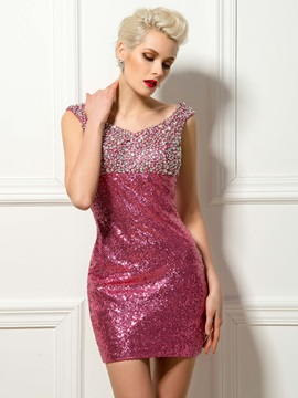 Luxurious V Neck Straps Beaded Sequins Short Cocktail Dress