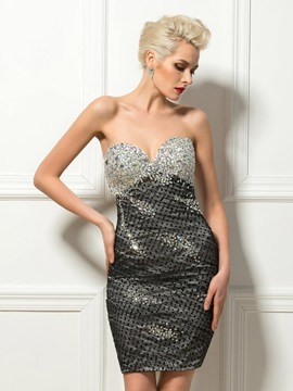 Modern Sweetheart Sheath Sequins Beading Short Cocktail Dress