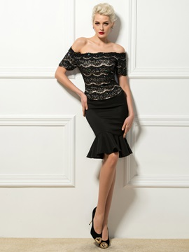 Sexy Off The Shoulder Short Sleeves Lace Sequins Knee Length Cocktail Dress
