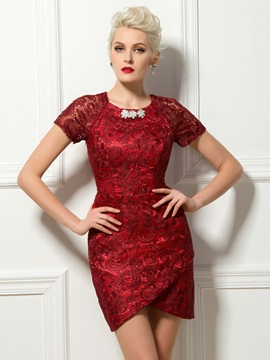Elegant Sheath Lace Crystal Short Sleeves Short Formal Cocktail Dress