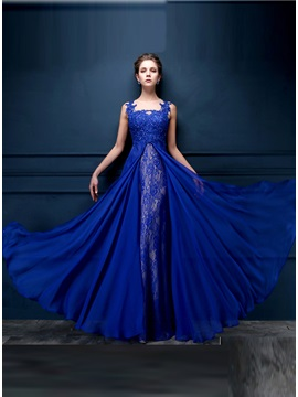Dazzling Tulle Neck Appliques Lace Sequins Long Evening Dress