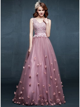 Fancy A Line V Neck Appliques Flowers Floor Length Prom Dress