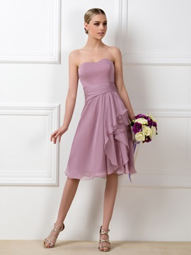 Strapless Sweetheart Knee Length Chiffon Bridesmaid Dress