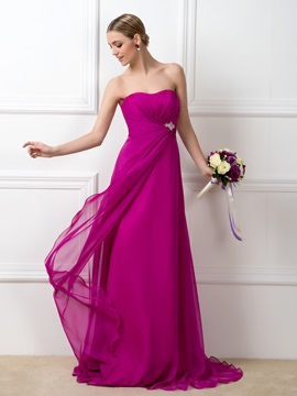 Dazzling Strapless Sweetheart Floor Length A Line Bridesmaid Dress