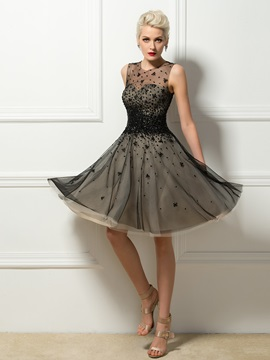 Delicate Tulle Neck Sequins Beading A Line Short Cocktail Dress