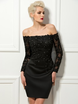 Stylish Off The Shoulder Long Sleeves Lace Beading Sheath Cocktail Dress