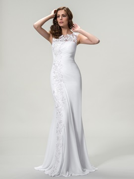 Bateau Neck Appliques Sheath Long Evening Dress Designed