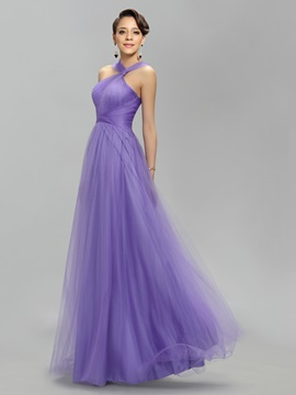 Halter A Line Pleats Long Prom Dress Designed