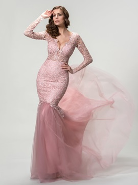 Sensual Deep V Neck Mermaid Lace Long Sleeves Evening Dress Designed